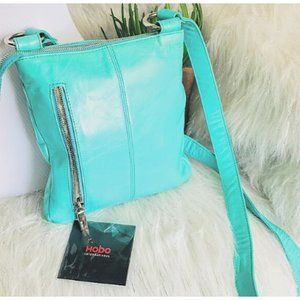 Hobo Crossbody Teal Turquoise Leather Bag